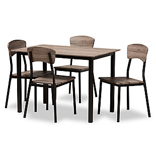 Marcus Modern Industrial Black Metal and Rustic Oak Brown Finished Wood 5-Piece Dining Set, , large