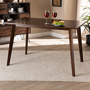 Britte Transitional Walnut Brown Finished Rectangular Wood Dining Table, , rollover