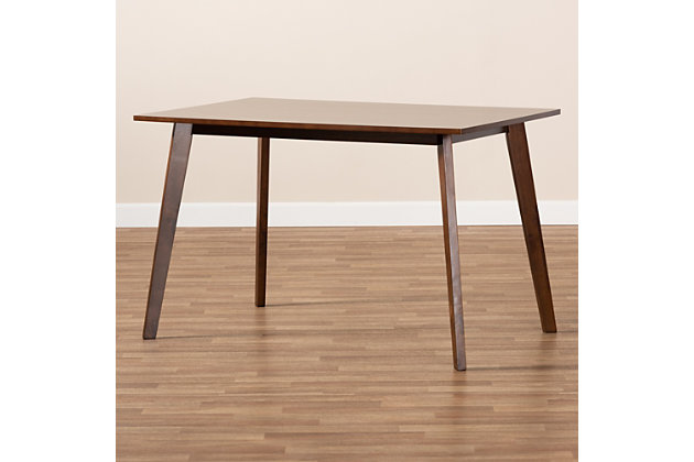 Britte Transitional Walnut Brown Finished Rectangular Wood Dining Table, , large
