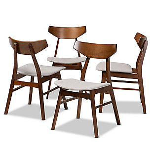 Danica Transitional Light Gray Fabric Upholstered and Walnut Brown Finished Wood 4-Piece Dining Chair Set, Gray, large