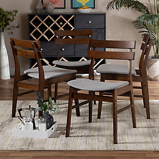 Devlin Transitional Light Gray Fabric Upholstered and Walnut Brown Finished Wood 4-Piece Dining Chair Set, Gray, rollover