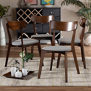 Iora Transitional Light Gray Fabric Upholstered and Walnut Brown Finished Wood 4-Piece Dining Chair Set, Gray, rollover