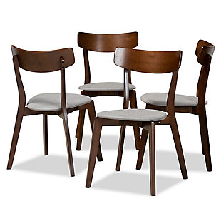 Iora Transitional Light Gray Fabric Upholstered and Walnut Brown Finished Wood 4-Piece Dining Chair Set, Gray, large