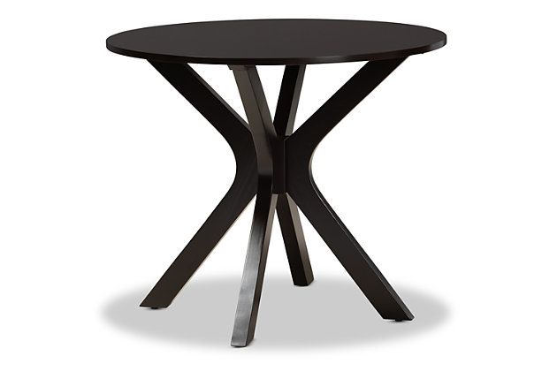 Kenji Dark Brown Finished 35-Inch-Wide Round Wood Dining Table, Dark Brown, large