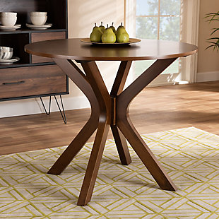 Kenji Walnut Brown Finished 35-Inch-Wide Round Wood Dining Table, Walnut Brown, rollover