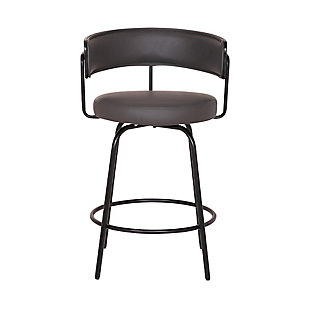 "Avalon  30"" Gray Faux Leather Swivel Barstool in Black Powder Coated Finish, Black, large"