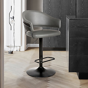 Brody  Adjustable Gray Faux Leather Swivel Barstool In Black Powder Coated Finish, , rollover