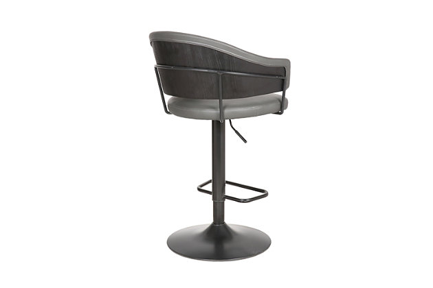 Brody  Adjustable Gray Faux Leather Swivel Barstool In Black Powder Coated Finish, , large