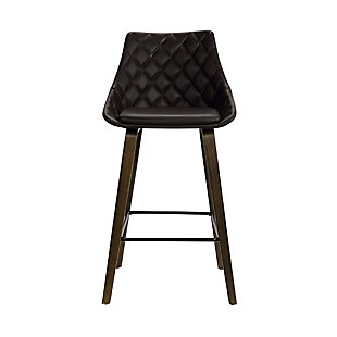 "Dani  26"" Brown Faux Leather Swivel Barstool in Walnut Glazed Finish, Brown, large"