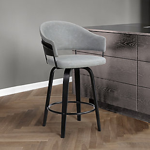 """Doral  30"""" Dark Gray Faux Leather Barstool in Black Powder Coated Finish and Black Brushed Wood, Gray, rollover"""