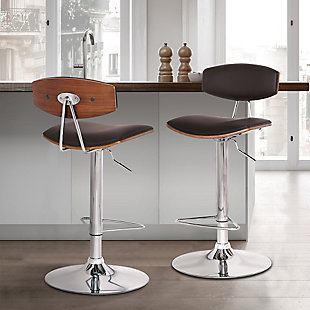 Erik  Adjustable Brown Faux Leather Swivel Barstool with Chrome Base, Brown, rollover