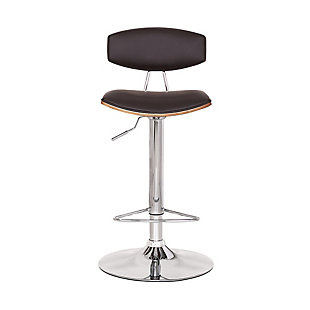 Erik  Adjustable Brown Faux Leather Swivel Barstool with Chrome Base, Brown, large