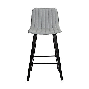 "Lorenz  26"" Gray Faux Leather Barstool In Black Brushed Wood Finish, , large"