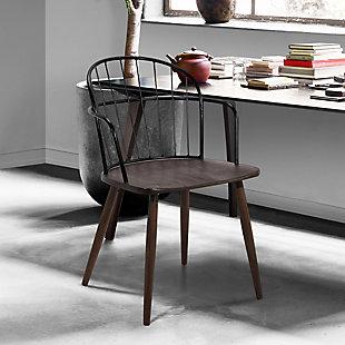 Bradley  Steel Framed Side Chair in Black Powder Coated Finish and Walnut Glazed Wood, Walnut, rollover