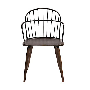 Bradley  Steel Framed Side Chair in Black Powder Coated Finish and Walnut Glazed Wood, Walnut, large