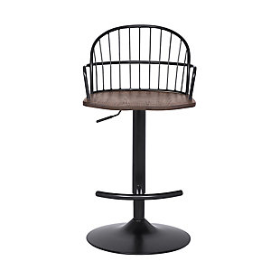 Edward  Adjustable Walnut Glazed Barstool in Black Powder Coated Finish, , large