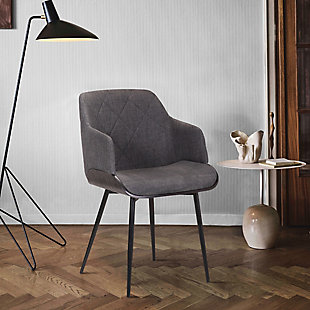 Jaida  Charcoal Cushion Side Chair in Black Powder Coated Finish and Black Brushed Wood, , rollover