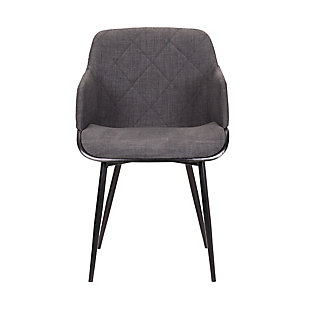 Jaida  Charcoal Cushion Side Chair in Black Powder Coated Finish and Black Brushed Wood, , large