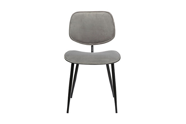 Lizzy  Gray Velvet Modern Dining Accent Chairs - Set of 2, Light Gray, large