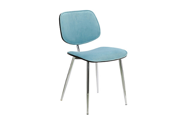 Lizzy  Blue Velvet Modern Dining Accent Chairs - Set of 2, Blue, large