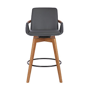 Baylor  Swivel Wood Bar or Counter Height Stool in Faux Leather, Gray, large