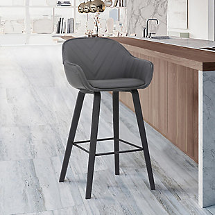 Crimson  Faux Leather and Wood Bar and Counter Height Stool, Gray, rollover
