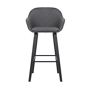 Crimson  Faux Leather and Wood Bar and Counter Height Stool, Gray, large