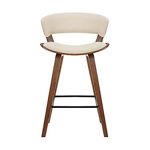 "Jagger Modern 26"" Wood and Faux Leather Counter Height Bar Stool, Beige, large"