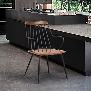 Alcott  Contemporary Walnut and Metal Dining Room Chair, , rollover