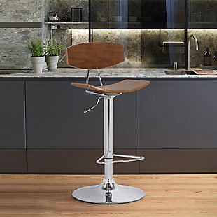 Jett  Adjustable Walnut and Chrome Adjustable Bar and Counter Height Stool, , rollover
