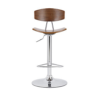 Jett  Adjustable Walnut and Chrome Adjustable Bar and Counter Height Stool, , large
