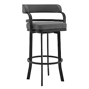 Prinz  Swivel Bar and Counter stool in Gray Faux Leather and Matte Black Finish, , large