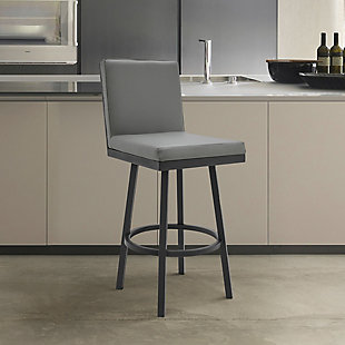 Rochester  Swivel Modern Metal and Gray Faux Leather Bar and Counter Stool, Gray/Black, rollover