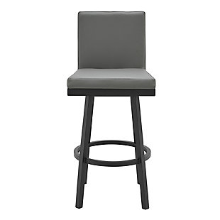 Rochester  Swivel Modern Metal and Gray Faux Leather Bar and Counter Stool, Gray/Black, large