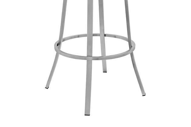 Palmdale  Swivel Modern Faux Leather Bar and Counter Stool in Brushed Stainless Steel Finish, Gray, large