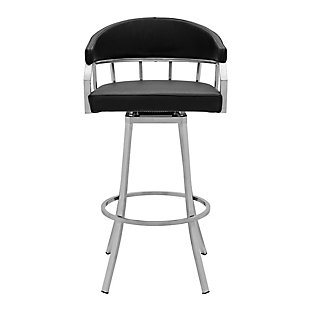 Palmdale  Swivel Modern Faux Leather Bar and Counter Stool in Brushed Stainless Steel Finish, Black, large