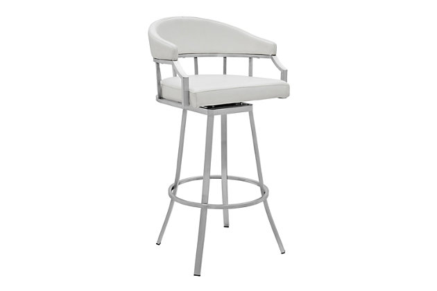 Palmdale  Swivel Modern Faux Leather Bar and Counter Stool in Brushed Stainless Steel Finish, White, large