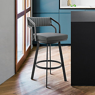 Scranton  Swivel Modern Metal and Slate Gray Faux Leather Bar and Counter Stool, Gray/Black, rollover
