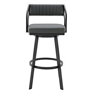 Scranton  Swivel Modern Metal and Slate Gray Faux Leather Bar and Counter Stool, Gray/Black, large