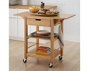 Bamboo Drop Leaf Kitchen Cart, , rollover