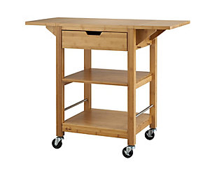 Bamboo Drop Leaf Kitchen Cart, , large