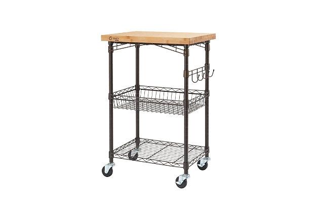 Expandable Bamboo Top Kitchen Cart, , large