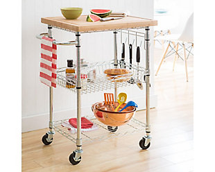 Bamboo Top Kitchen Cart, , rollover