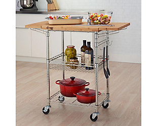 Expandable Bamboo Top Kitchen Cart, , rollover