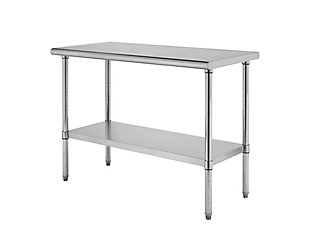 "Stainless Steel 60"" Table, Metallic, large"