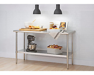 "Stainless Steel 72"" Table, Metallic, rollover"