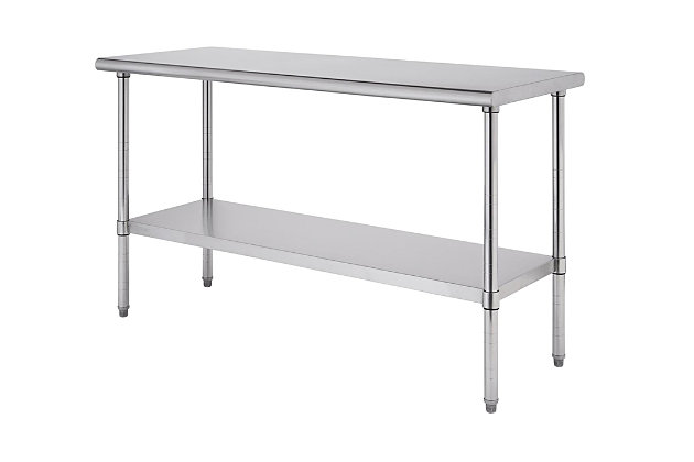 "Stainless Steel 72"" Table, Metallic, large"