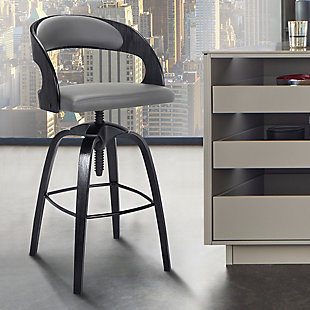Abby Contemporary Adjustable Barstool in Black Brushed Wood Finish and Gray Faux Leather, , rollover