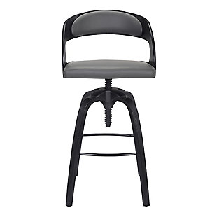 Abby Contemporary Adjustable Barstool in Black Brushed Wood Finish and Gray Faux Leather, , large