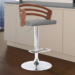 Adele Mid-Century Adjustable Swivel Barstool in Chrome with Gray Faux Leather and Walnut Veneer, Brown, rollover